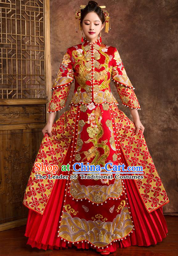Traditional Chinese Embroidered Dragon XiuHe Suit Wedding Costumes Full Dress Ancient Bottom Drawer for Bride