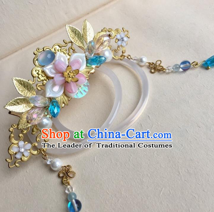 Chinese Traditional Hair Accessories Golden Leaf Phoenix Coronet Ancient Hanfu Hairpins for Women