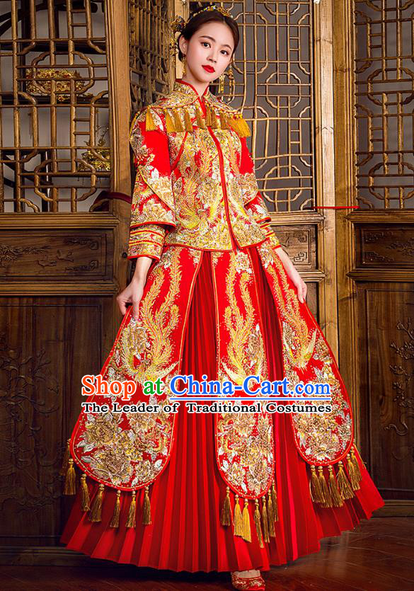 Traditional Chinese Embroidered Phoenix Diamante Red XiuHe Suit Wedding Costumes Full Dress Ancient Bottom Drawer for Bride