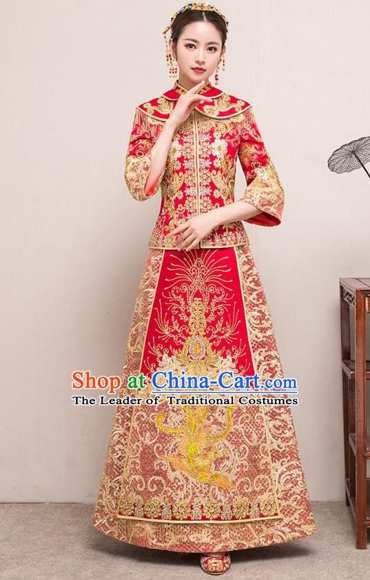 Traditional Chinese Embroidered Slim Diamante Red XiuHe Suit Wedding Costumes Full Dress Ancient Bottom Drawer for Bride