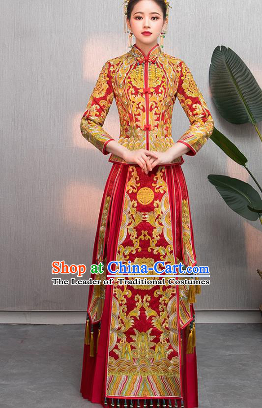 Traditional Chinese Embroidered Wedding Costumes XiuHe Suit Ancient Bottom Drawer for Women