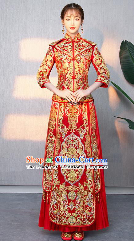 Traditional Chinese Ancient Bottom Drawer Wedding Costumes Embroidered XiuHe Suit for Women
