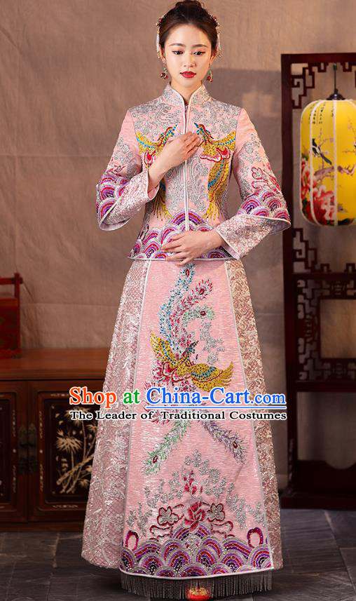 Traditional Chinese Embroidered Phoenix Slim Pink XiuHe Suit Wedding Costumes Full Dress Ancient Bottom Drawer for Bride