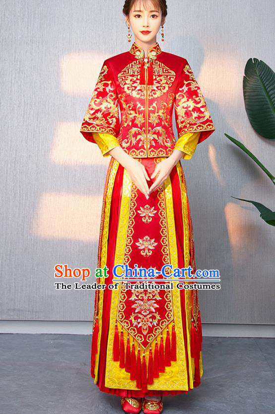 Traditional Chinese Ancient Bottom Drawer Wedding Costumes Embroidered Red XiuHe Suit for Women