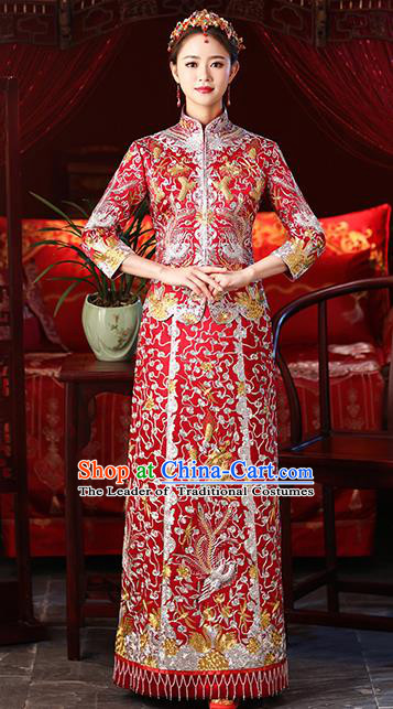 Chinese Ancient Embroidered Dragon Phoenix Wedding Costumes Bride Red Formal Dresses XiuHe Suit for Women