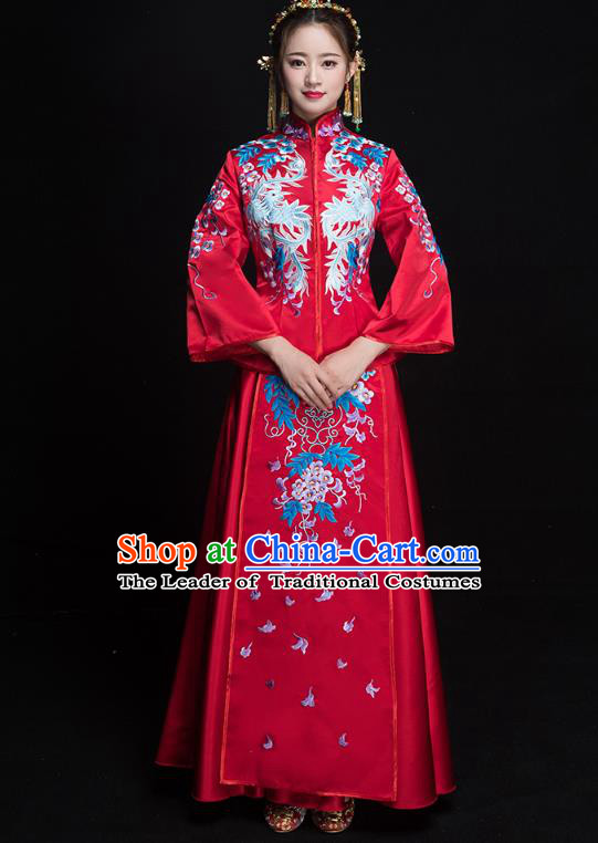 Chinese Ancient Embroidered Grape Wedding Costumes Bride Formal Dresses Red XiuHe Suit for Women