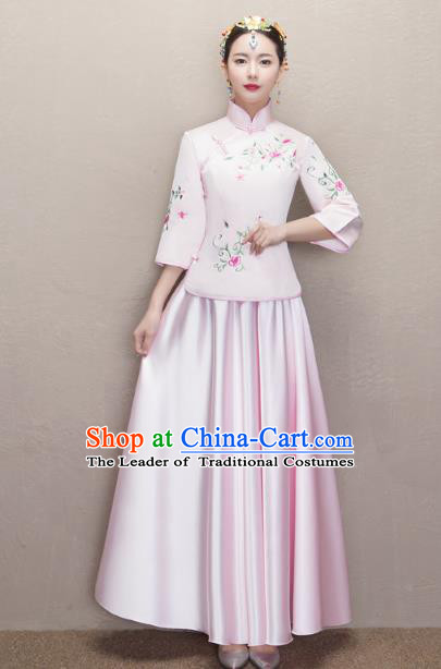 Chinese Ancient Wedding Costumes Bride Formal Dresses Embroidered Pink XiuHe Suit for Women