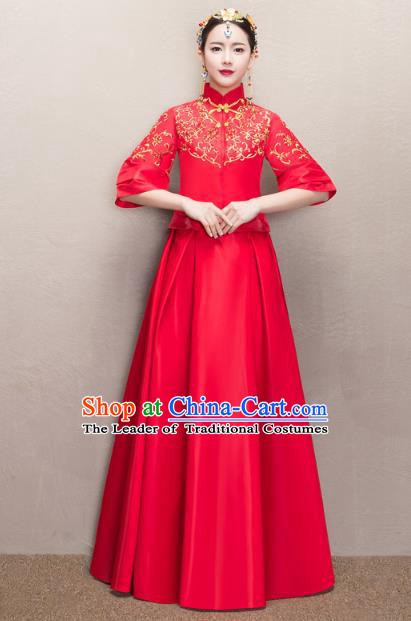Chinese Ancient Wedding Costumes Bride Formal Dresses Embroidered Red XiuHe Suit for Women