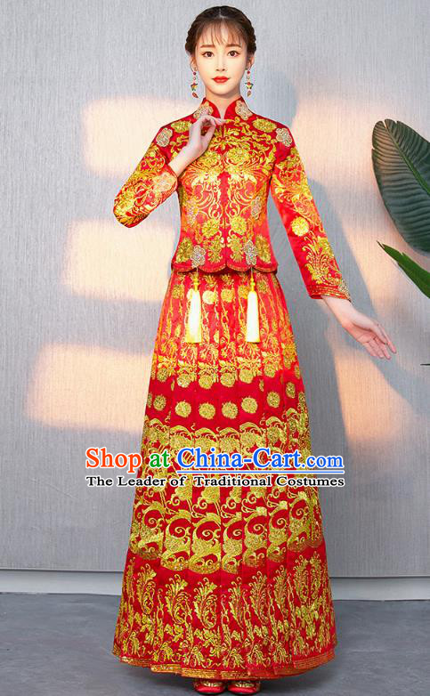 Chinese Ancient Bottom Drawer Traditional Wedding Costumes Embroidered Slim XiuHe Suit for Women