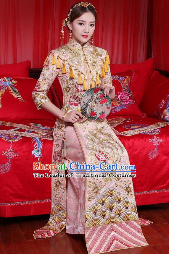 Traditional Chinese Embroidered Phoenix Peony Slim Pink XiuHe Suit Wedding Costumes Full Dress Ancient Bottom Drawer for Bride