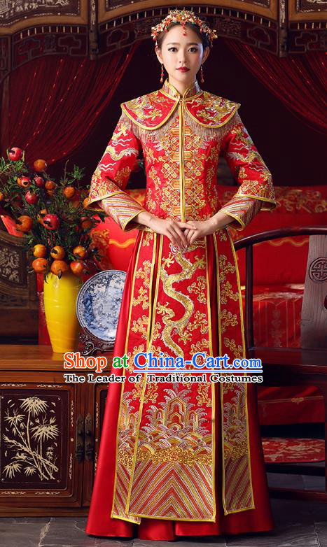 Chinese Ancient Bottom Drawer Traditional Wedding Costumes Embroidered Dragons Slim XiuHe Suit for Women