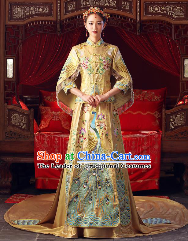 Chinese Ancient Bottom Drawer Traditional Wedding Costumes Embroidered Trailing Golden XiuHe Suit for Women