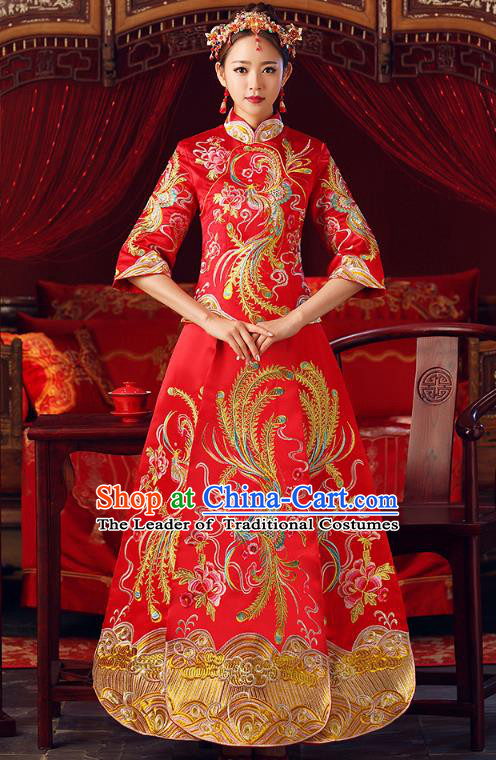 Chinese Ancient Bottom Drawer Embroidered Phoenix Red XiuHe Suit Traditional Wedding Costumes for Women