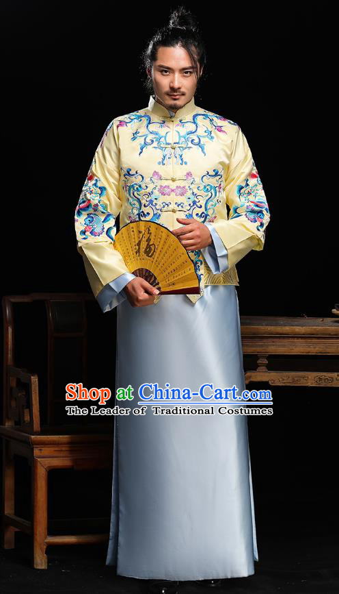 Traditional Ancient Chinese Wedding Blue Costumes Bridegroom Embroidered Tang Suit for Men