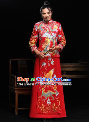 Ancient Chinese Wedding Red Costumes Traditional Bridegroom Embroidered Crane Dragon Tang Suit for Men