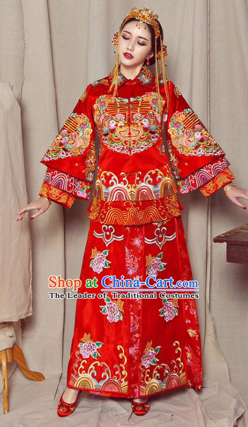 Traditional Chinese Embroidered Mandarin Duck XiuHe Suit Wedding Costumes Ancient Bottom Drawer for Bride