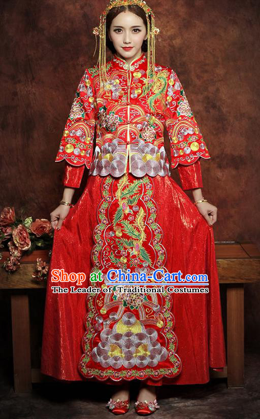 Traditional Chinese Embroidered Phoenix Peony XiuHe Suit Wedding Costumes Ancient Bottom Drawer for Bride