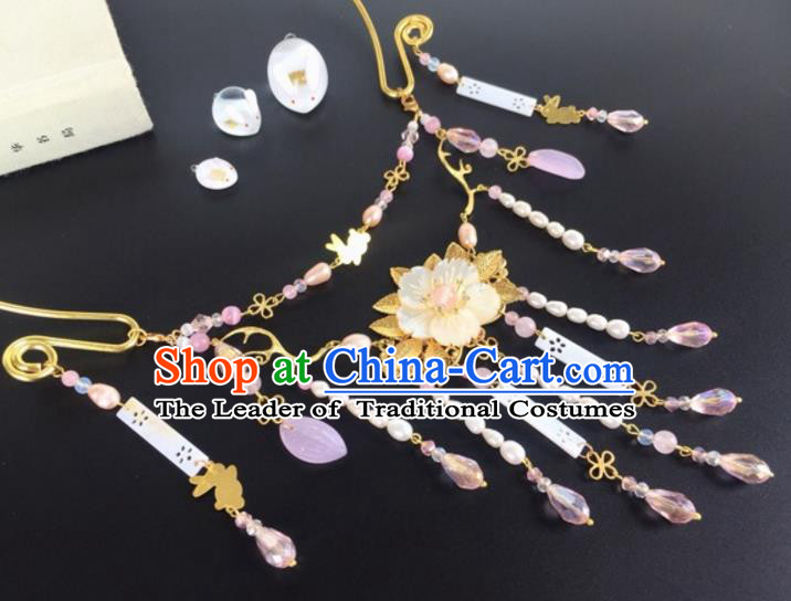 Handmade Chinese Traditional Accessories Hanfu Shell Flower Tassel Necklace for Women