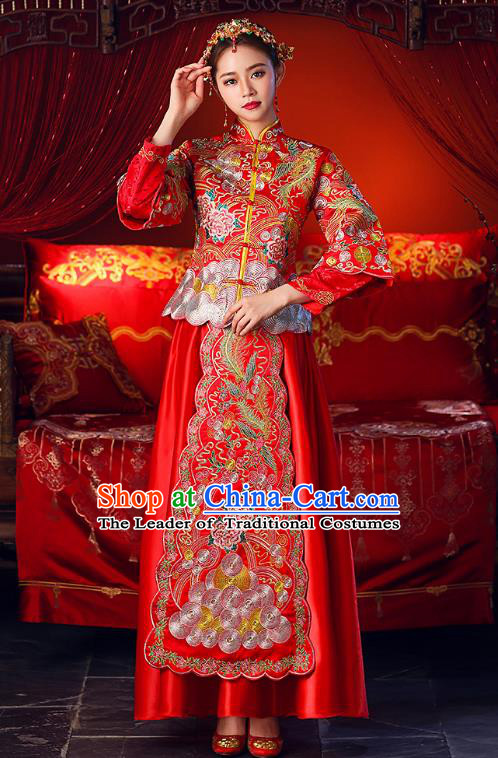 Chinese Ancient Traditional Wedding Costumes Bride Formal Dresses Embroidered Toast Cheongsam XiuHe Suit for Women