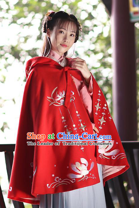Ancient Chinese Ming Dynasty Princess Costume Embroidered Red Cloak for Women