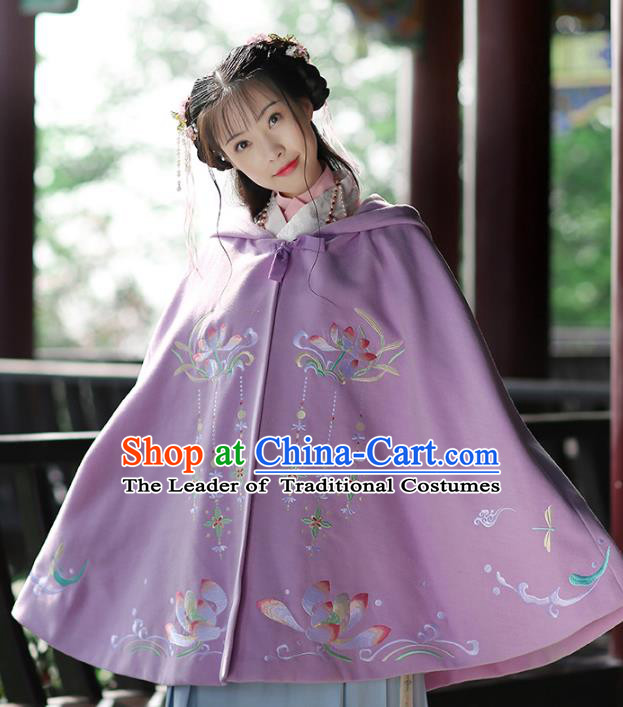 Ancient Chinese Ming Dynasty Princess Costume Embroidered Lotus Purple Cloak for Women