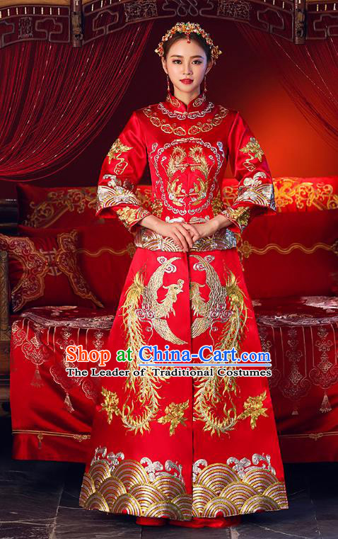 Chinese Ancient Traditional Wedding Costumes Bride Formal Dresses Embroidered Cheongsam XiuHe Suit for Women