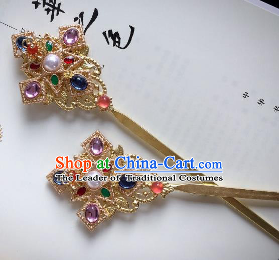 Chinese Traditional Hair Accessories Crystal Hair Clip Ancient Hanfu Hairpins for Women