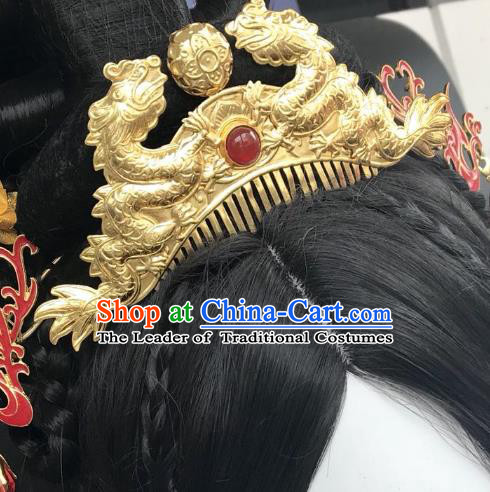 Chinese Traditional Hair Accessories Golden Dragon Hair Comb Ancient Hanfu Hairpins for Women