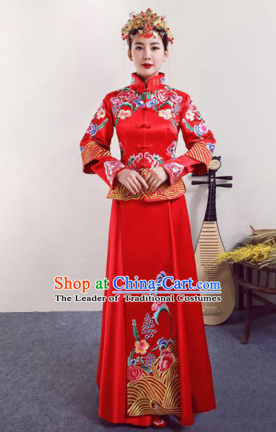 Chinese Ancient Wedding Costumes Bride Red Formal Dresses Embroidered Peony XiuHe Suit for Women