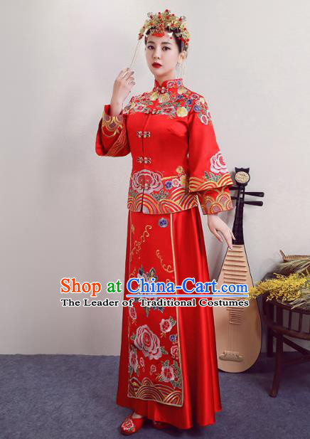 Chinese Ancient Wedding Costumes Bride Red Formal Dresses Embroidered Phoenix Peony XiuHe Suit for Women