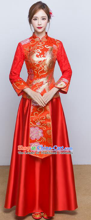 Chinese Ancient Wedding Costumes Bride Red Formal Dresses Embroidered Slim XiuHe Suit for Women