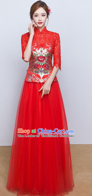 Chinese Ancient Wedding Costumes Bride Red Lace Formal Dresses Embroidered Slim XiuHe Suit for Women