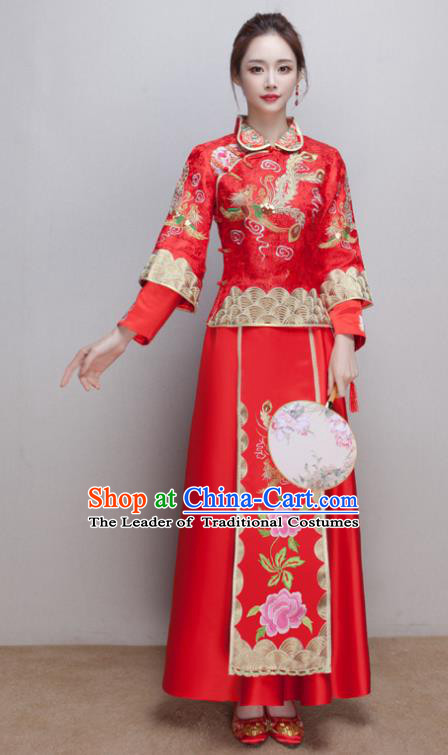Chinese Ancient Wedding Costumes Bride Formal Dresses Embroidered Phoenix Peony Slim Red XiuHe Suit for Women