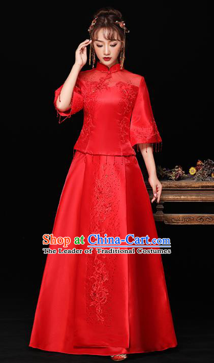 Chinese Ancient Wedding Costumes Bride Red Formal Dresses Embroidered Longfenggua XiuHe Suit for Women