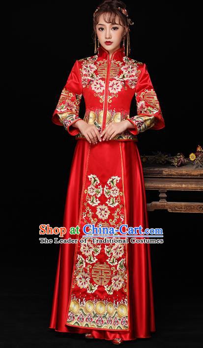Chinese Ancient Wedding Costumes Bride Formal Dresses Embroidered Lotus Longfenggua XiuHe Suit for Women