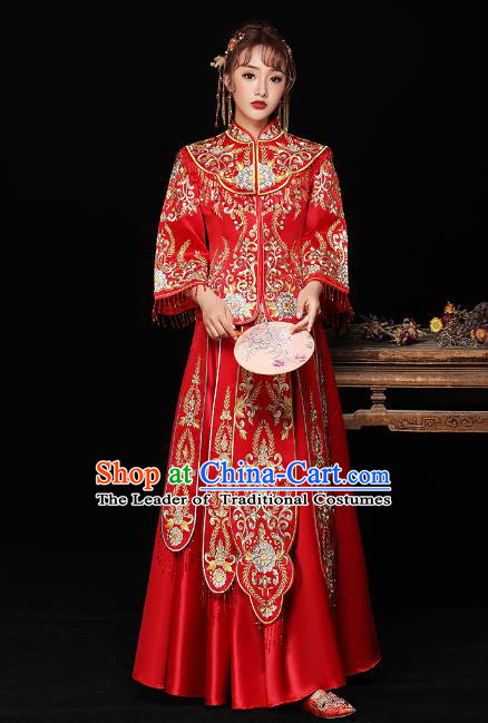 Chinese Ancient Bride Formal Dresses Wedding Costume Embroidered Toast Cheongsam Red XiuHe Suit for Women