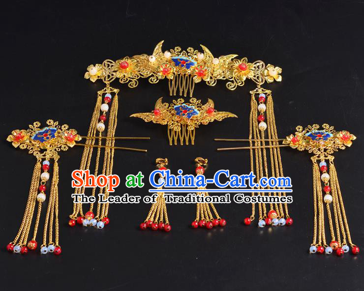 Traditional Chinese Ancient Wedding Hair Accessories Xiuhe Suit Hairpins Complete Set for Women