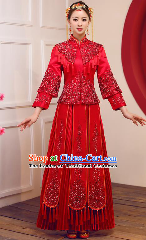 Top Grade Chinese Traditional Diamante Wedding Dress Ancient Bride Embroidered Red XiuHe Suit for Women