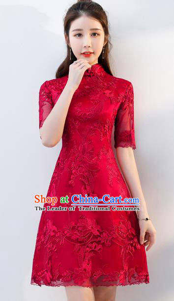 Top Grade Chinese Traditional Wedding Dress Ancient Bride Embroidered Red Cheongsam for Women