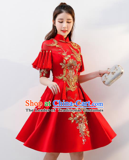 Top Grade Chinese Traditional Red Wedding Dress Ancient Bride Embroidered Cheongsam for Women