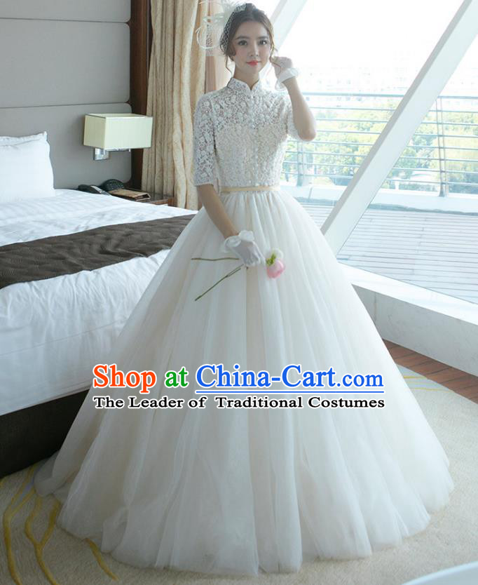 Top Grade Wedding Dress Bride White Lace Mullet Dress for Women