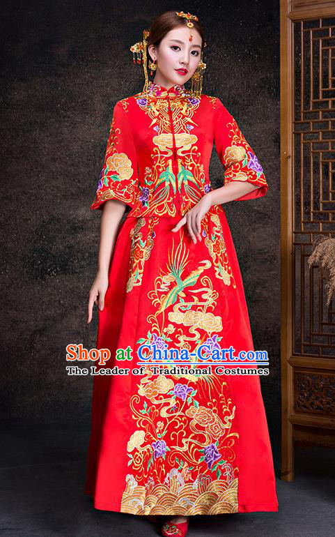 Chinese Traditional Wedding Dress XiuHe Suit Ancient Bride Embroidered Phoenix Cheongsam for Women