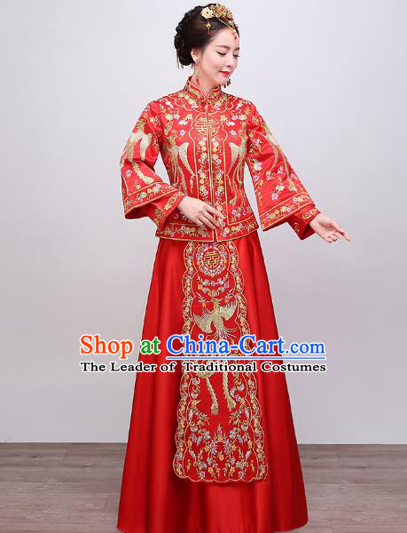Chinese Traditional Wedding Dress Embroidered Phoenix Red XiuHe Suit Ancient Bride Cheongsam for Women