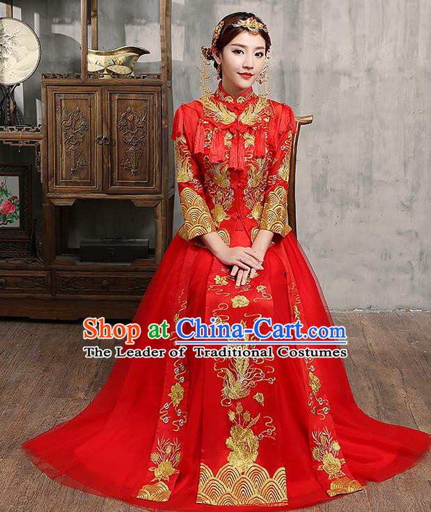 Chinese Traditional Embroidered Wedding Dress Red Tassel XiuHe Suit Ancient Bride Cheongsam for Women