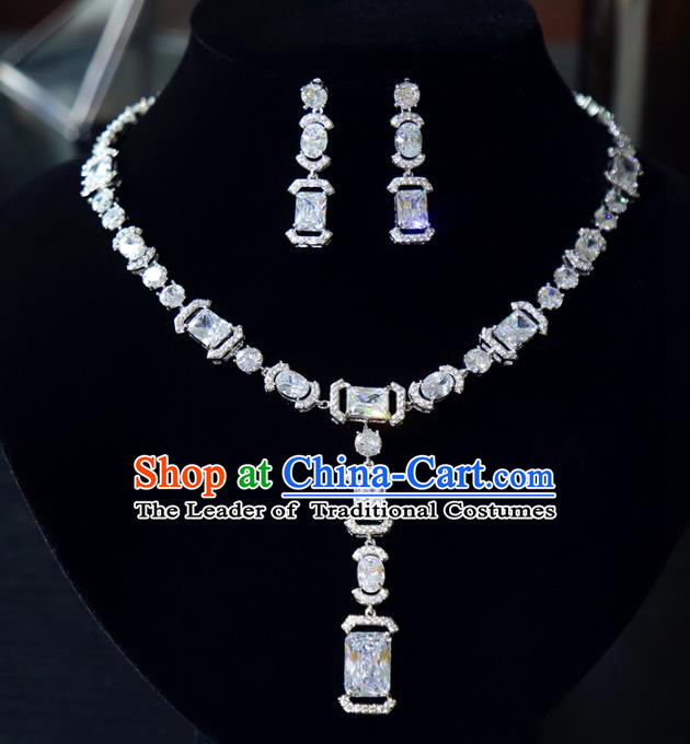 Top Grade Wedding Jewelry Accessories Bride Zircon Necklace and Earrings for Women