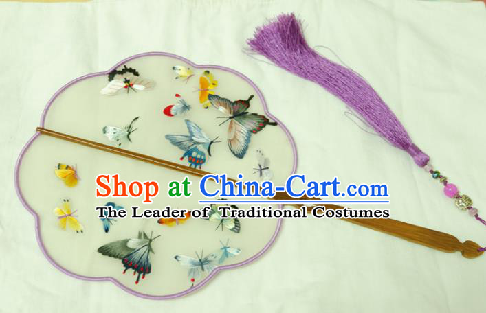 Chinese Traditional Ancient Palace Fan Embroidered Butterfly Fans for Women