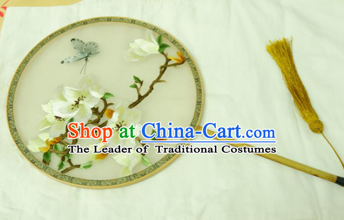 Chinese Traditional Ancient Palace Fan Embroidered Magnolia Flower Fans for Women
