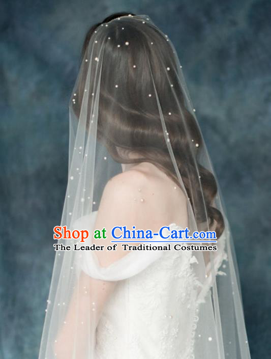 Top Grade Bride Hair Accessories Pearls Wedding Veil Headwear for Women