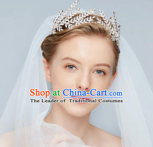 Top Grade Wedding Hair Accessories Bride Crystal Leaf Royal Crown for Women