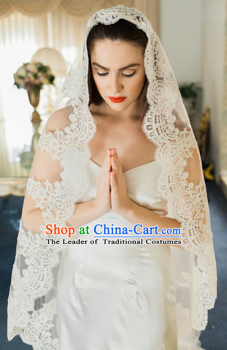 Top Grade Bride Hair Accessories Wedding Lace Veil Headwear for Women